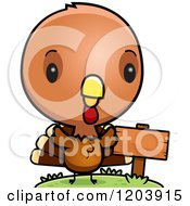 Cartoon Of A Cute Baby Turkey Bird By A Sign Post Royalty Free Vector Clipart