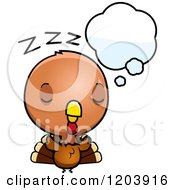 Cartoon Of A Cute Baby Turkey Bird Dreaming Royalty Free Vector Clipart by Cory Thoman