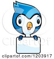 Cartoon Of A Cute Baby Blue Jay Over A Sign Royalty Free Vector Clipart