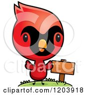 Cartoon Of A Cute Baby Cardinal Bird By A Sign Post Royalty Free Vector Clipart by Cory Thoman