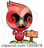 Cartoon Of A Cute Baby Cardinal Bird By A Sign Post Royalty Free Vector Clipart