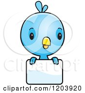 Cartoon Of A Cute Baby Blue Bird Over A Sign Royalty Free Vector Clipart by Cory Thoman