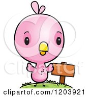 Cartoon Of A Cute Pink Baby Bird By A Sign Post Royalty Free Vector Clipart