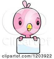 Cartoon Of A Cute Pink Baby Bird Over A Sign Royalty Free Vector Clipart
