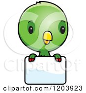 Cartoon Of A Cute Green Baby Parrot Over A Sign Royalty Free Vector Clipart by Cory Thoman