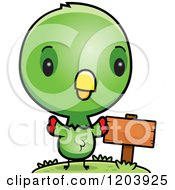 Cartoon Of A Cute Green Baby Parrot By A Sign Post Royalty Free Vector Clipart by Cory Thoman
