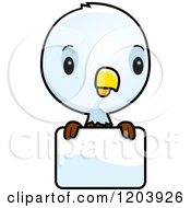 Cartoon Of A Cute Baby Bald Eagle Over A Sign Royalty Free Vector Clipart by Cory Thoman