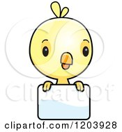 Cartoon Of A Cute Yellow Baby Chick Bird Over A Sign Royalty Free Vector Clipart