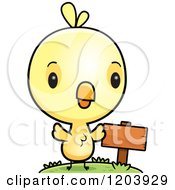 Cartoon Of A Cute Yellow Baby Chick Bird By A Sign Post Royalty Free Vector Clipart