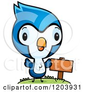 Cartoon Of A Cute Baby Blue Jay By A Sign Post Royalty Free Vector Clipart