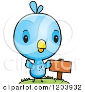 Cartoon Of A Cute Baby Blue Bird By A Sign Post Royalty Free Vector Clipart by Cory Thoman