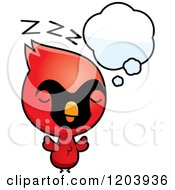 Cartoon Of A Cute Baby Cardinal Bird Sleeping Royalty Free Vector Clipart by Cory Thoman