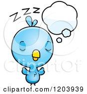 Cartoon Of A Cute Baby Blue Bird Sleeping Royalty Free Vector Clipart