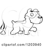Cartoon Of A Black And White Cute Jack Russell Terrier Puppy With A Pile Of Poop Royalty Free Vector Clipart
