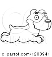 Cartoon Of A Black And White Cute Jack Russell Terrier Puppy Running Royalty Free Vector Clipart
