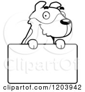 Cartoon Of A Black And White Cute Jack Russell Terrier Puppy Over A Sign Royalty Free Vector Clipart