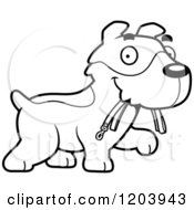 Cartoon Of A Black And White Cute Jack Russell Terrier Puppy Carrying A Leash Royalty Free Vector Clipart