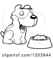 Cartoon Of A Black And White Cute Jack Russell Terrier Puppy Sitting Royalty Free Vector Clipart