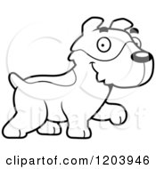 Cartoon Of A Black And White Cute Jack Russell Terrier Puppy Walking Royalty Free Vector Clipart