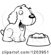 Cartoon Of A Black And White Cute Spaniel Puppy By A Bowl Of Dog Food Royalty Free Vector Clipart by Cory Thoman