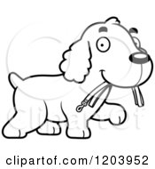 Cartoon Of A Black And White Cute Spaniel Puppy Carrying A Leash Royalty Free Vector Clipart by Cory Thoman