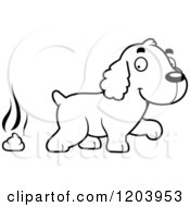 Cartoon Of A Black And White Cute Spaniel Puppy And Pile Of Poop Royalty Free Vector Clipart by Cory Thoman