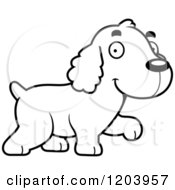 Cartoon Of A Black And White Cute Spaniel Puppy Walking Royalty Free Vector Clipart by Cory Thoman