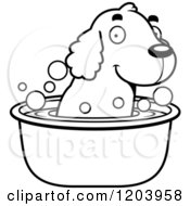 Cartoon Of A Black And White Cute Spaniel Puppy Taking A Bath Royalty Free Vector Clipart by Cory Thoman