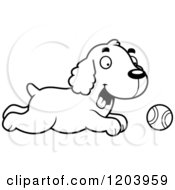 Cartoon Of A Black And White Cute Spaniel Puppy Sitting Royalty Free Vector Clipart by Cory Thoman
