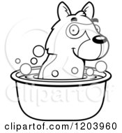 Cartoon Of A Black And White Cute German Shepherd Puppy Taking A Bath Royalty Free Vector Clipart by Cory Thoman