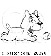 Cartoon Of A Black And White Cute German Shepherd Puppy Chasing A Ball Royalty Free Vector Clipart