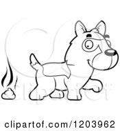 Cartoon Of A Black And White Cute German Shepherd Puppy And A Pile Of Poop Royalty Free Vector Clipart by Cory Thoman