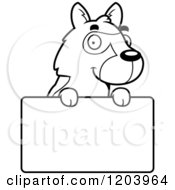 Cartoon Of A Black And White Cute German Shepherd Puppy Over A Sign Royalty Free Vector Clipart by Cory Thoman