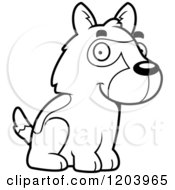 Cartoon Of A Black And White Cute German Shepherd Puppy Sitting Royalty Free Vector Clipart