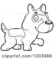 Cartoon Of A Black And White Cute German Shepherd Puppy Walking Royalty Free Vector Clipart by Cory Thoman