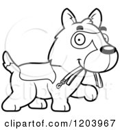 Cartoon Of A Black And White Cute German Shepherd Puppy Carrying A Leash Royalty Free Vector Clipart by Cory Thoman