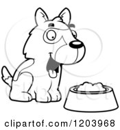 Cartoon Of A Black And White Cute German Shepherd Puppy With Dog Food Royalty Free Vector Clipart