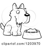 Cartoon Of A Black And White Cute Scottish Terrier Puppy By Dog Food Royalty Free Vector Clipart