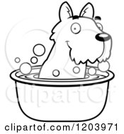 Cartoon Of A Black And White Cute Scottish Terrier Puppy Taking A Bath Royalty Free Vector Clipart