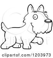 Cartoon Of A Black And White Cute Scottish Terrier Puppy Walking Royalty Free Vector Clipart