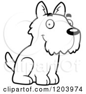 Cartoon Of A Black And White Cute Scottish Terrier Puppy Sitting Royalty Free Vector Clipart