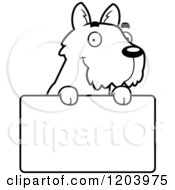 Cartoon Of A Black And White Cute Scottish Terrier Puppy Over A Sign Royalty Free Vector Clipart