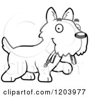Cartoon Of A Black And White Cute Scottish Terrier Puppy Carrying A Leash Royalty Free Vector Clipart by Cory Thoman