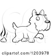 Cartoon Of A Black And White Cute Scottish Terrier Puppy And A Pile Of Dog Poop Royalty Free Vector Clipart