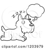 Cartoon Of A Black And White Cute Scottish Terrier Puppy Dreaming Royalty Free Vector Clipart