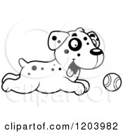 Cartoon Of A Black And White Cute Dalmatian Puppy Chasing A Tennis Ball Royalty Free Vector Clipart by Cory Thoman