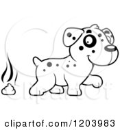 Cartoon Of A Black And White Cute Dalmatian Puppy And Pile Of Poop Royalty Free Vector Clipart by Cory Thoman