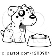 Cartoon Of A Black And White Cute Dalmatian Puppy Sitting By Dog Food Royalty Free Vector Clipart by Cory Thoman