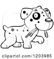 Cartoon Of A Black And White Cute Dalmatian Puppy Carrying A Leash Royalty Free Vector Clipart by Cory Thoman