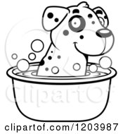 Cartoon Of A Black And White Cute Dalmatian Puppy Taking A Bath Royalty Free Vector Clipart by Cory Thoman
